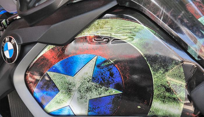 Mẫu file thiết kế tem trùm dán xe Mô tô hình Captain America