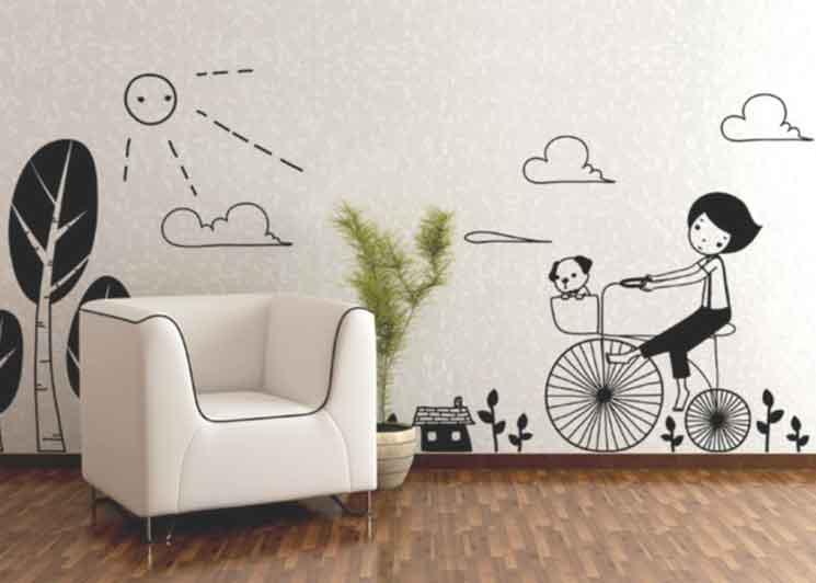 Màu sơn tường sáng rất thích hợp để dán decal dán tường
