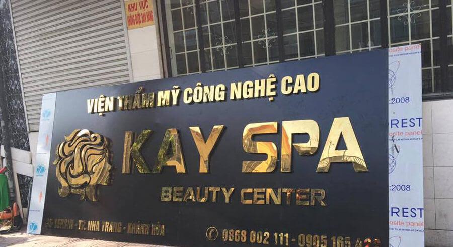 bảng hiệu spa thẩm mỹ alu ốp chữ inox nổi - mẫu 3