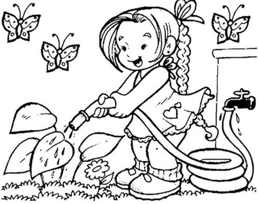 Cô bé tưới cây