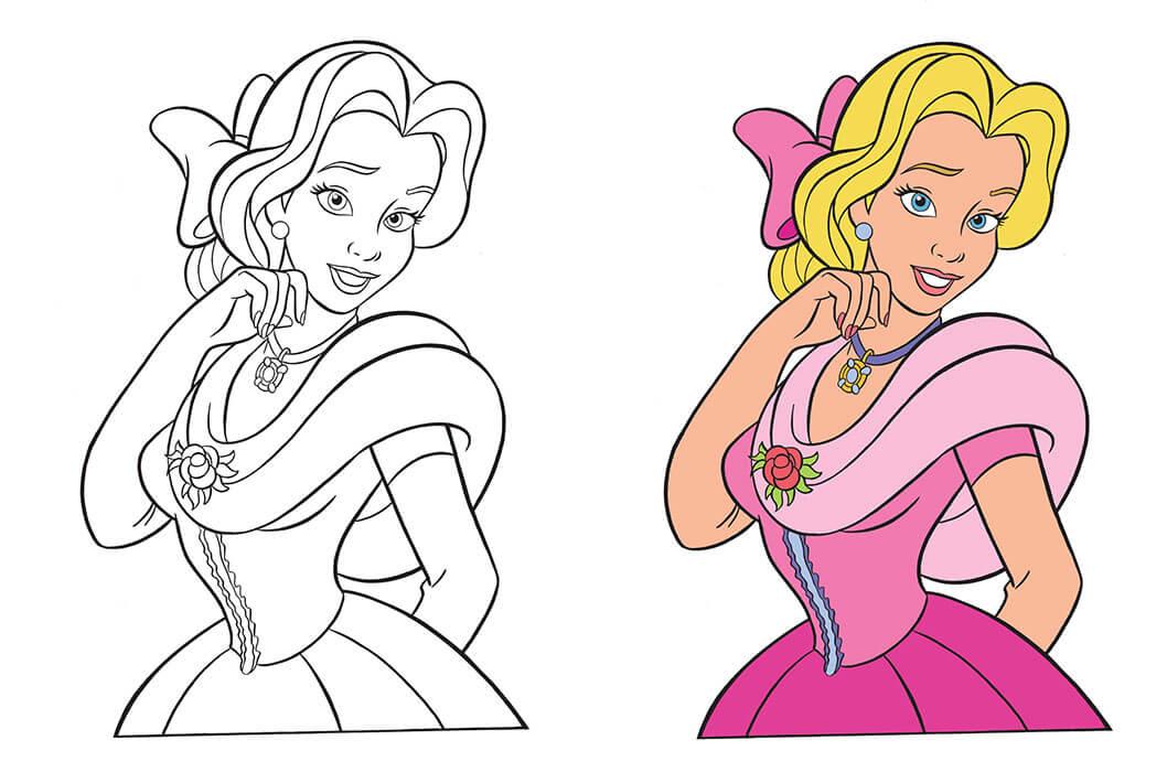 Công chúa trước và sau khi tô màu