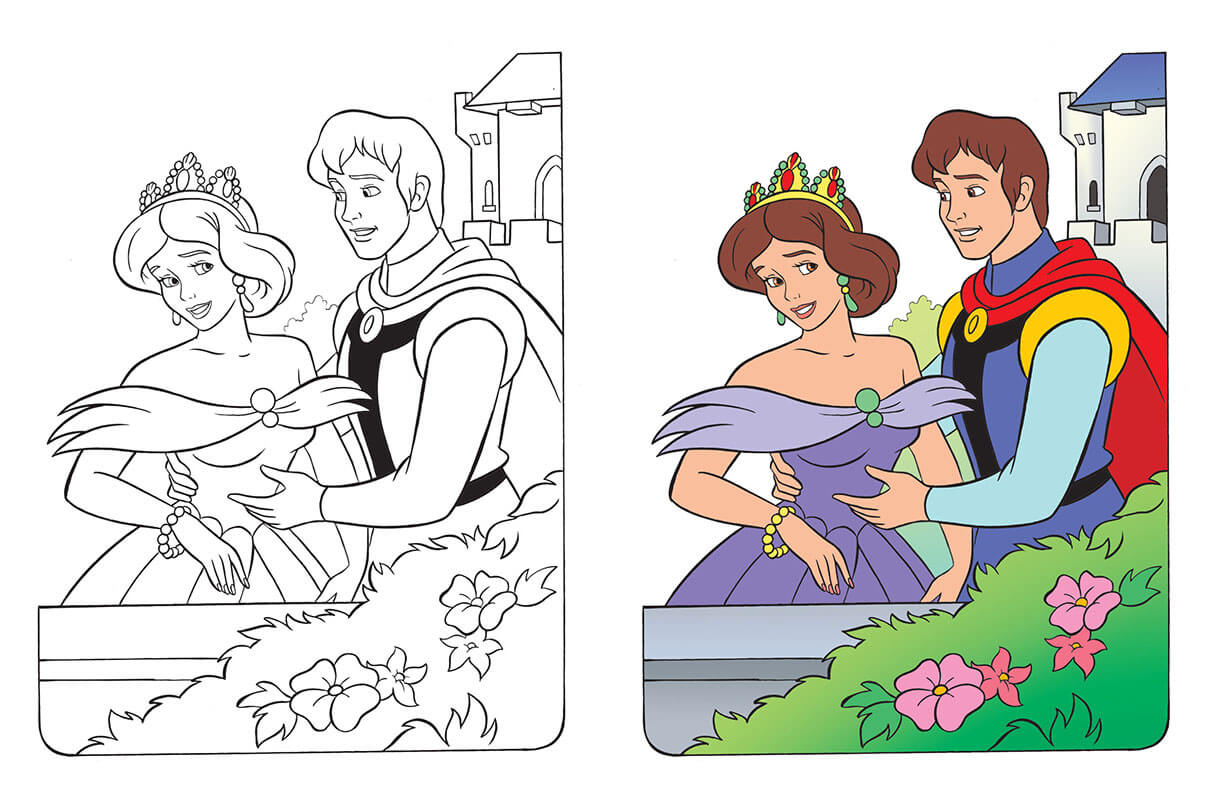 Trước và sau khi tô màu hình hoàng tử và công chúa