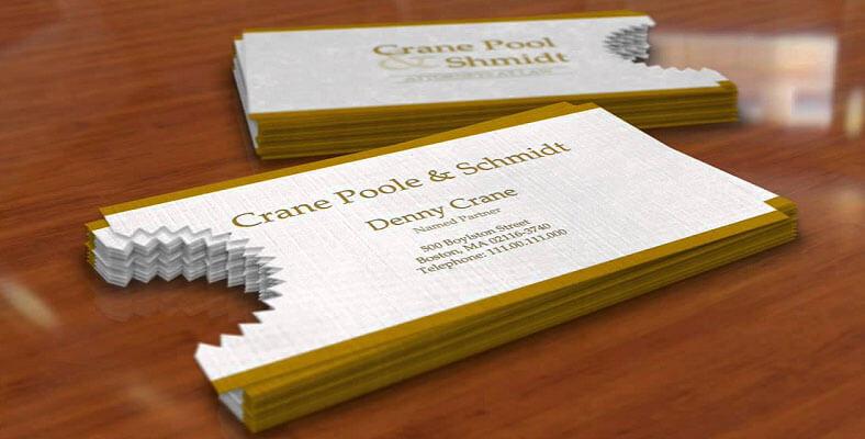 name card được cắt theo hình răng cưa độc đáo