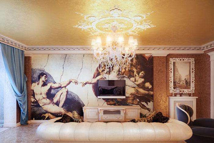 Nếu căn nhà bạn có nội thất cổ điển, chọn tranh treo tường cổ điển cũng rất thích hợp