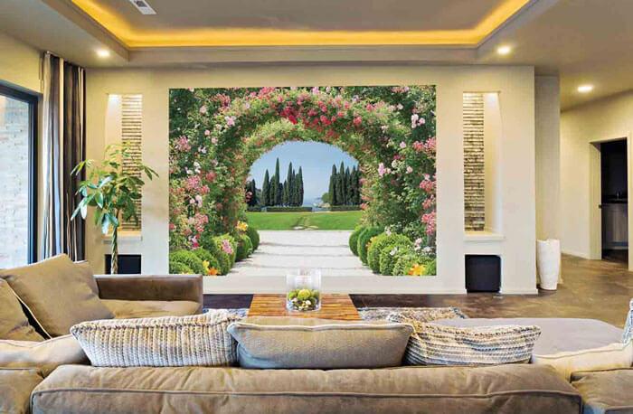 Tranh dán tường trong nhà có chiều sâu sẽ giúp căn nhà của bạn không gian nhìn trông rộng hơn