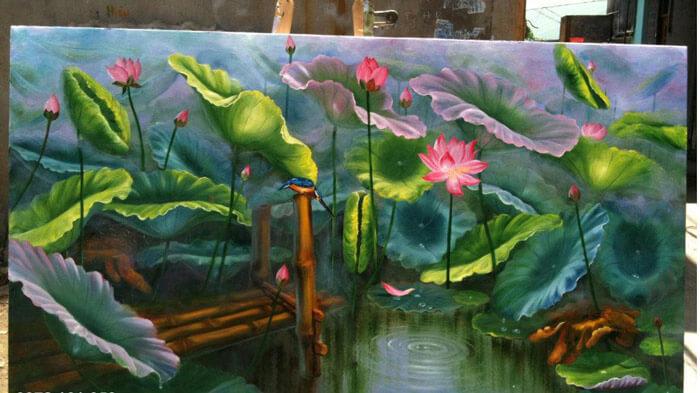 Tranh in trên canvas giống như tranh thêu hình hoa sen đẹp