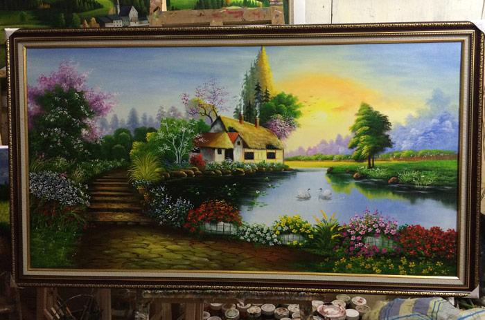 Tranh sơn dầu phong thủy treo phòng khách đẹp