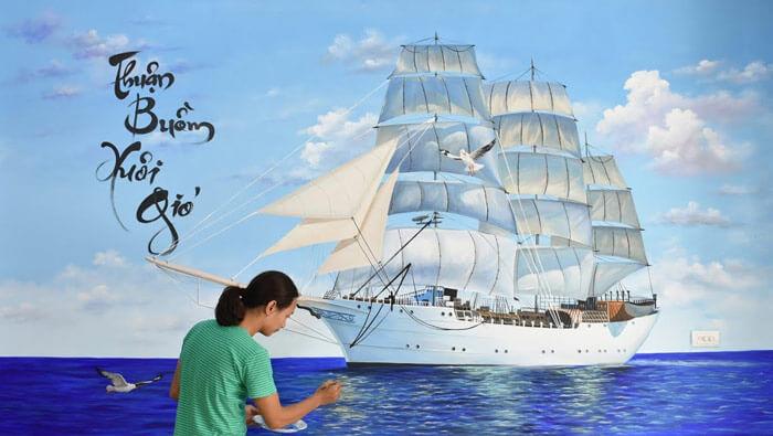 Tranh thuận buồm xuôi gió thích hợp để tặng đối tác hoặc bạn bè