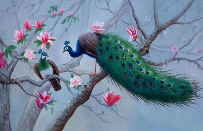 Bức tranh chim công rất đẹp và lộng lẫy