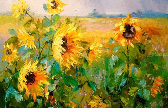 Tranh hoa hướng dương luôn mang đến sự may mắn cho những người tuổi Sửu