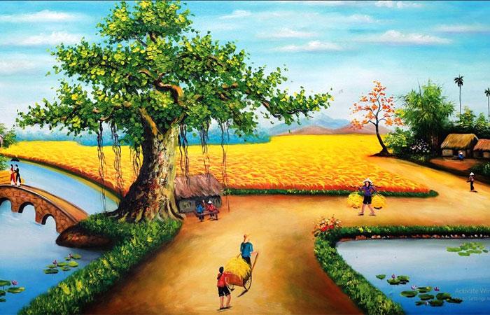 Tranh làng quê thích hợp làm tranh phong thủy cho người tuổi Tân Sửu mệnh Thổ