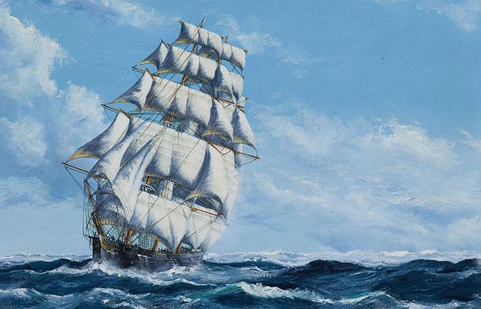 Tranh thuận buồm xuôi gió có ý nghĩa phong thủy về mặt tài lộc với những người tuổi Sửu có mệnh Thủy