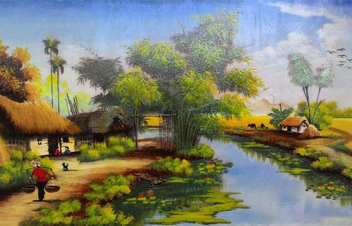Tâm hồn gia chủ được bình yên hơn với bức tranh phong cảnh làng quê