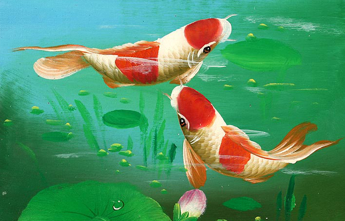 Tranh cá chép mang lại sự thanh cao, bình yên cho gia chủ