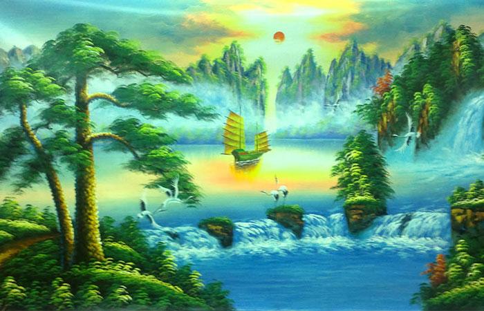 Tranh phong cảnh sơn thủy hữu tình phù hợp với gia chủ tuổi Dần