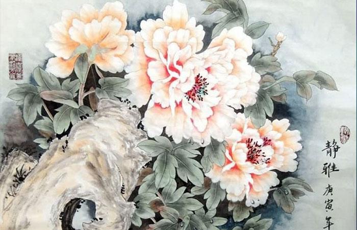 Tranh hoa mẫu đơn phong thủy