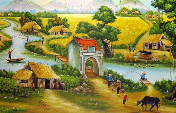 Tranh tuổi Đinh Hợi chủ đề làng quê Việt Nam